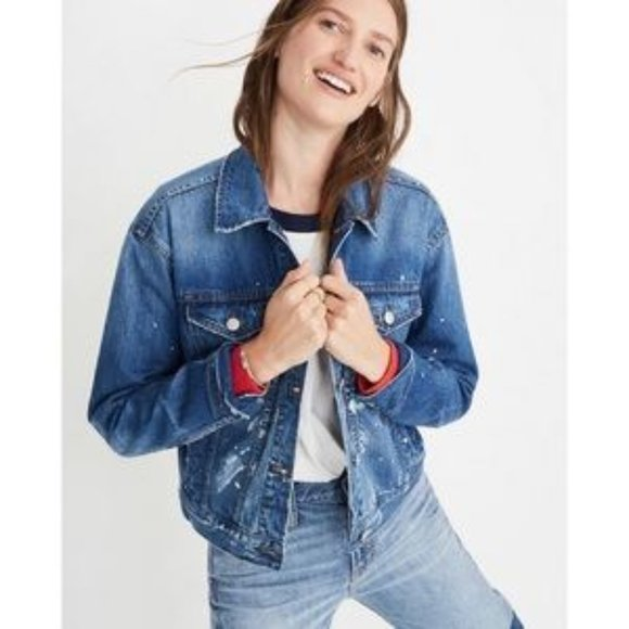 NWT Madewell Boxy-Crop Paint Spattered Jean Jacket